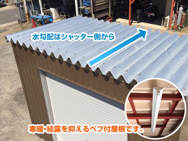 水勾配はシャッター側から/寒暖・結露を抑えるペフ付屋根です。